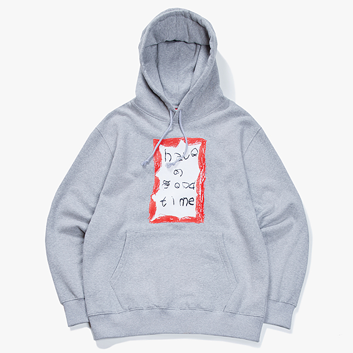 해브어굿타임 후드티 CRAYON FRAME PULLOVER HOODIE-HEATHER GREY