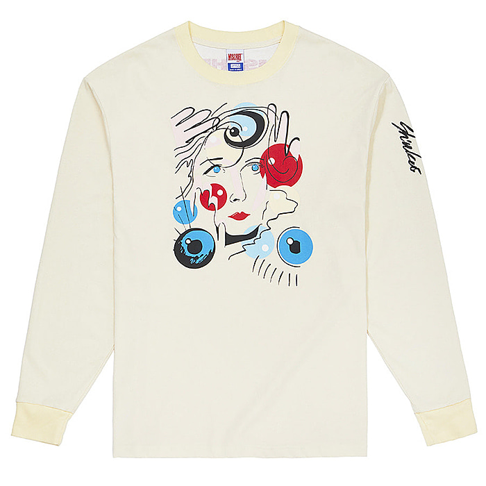 미스치프 긴팔티 SHIUKAI ALFIE X MSCHF BOBBLE FACE TEE-PALE YELLOW