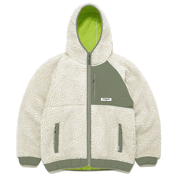 디스이즈네버댓 자켓 HOODED BOA FLEECE JACKET-IVORY