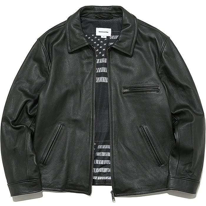 디스이즈네버댓 자켓 LEATHER MOTORCYCLE JACKET-BLACK