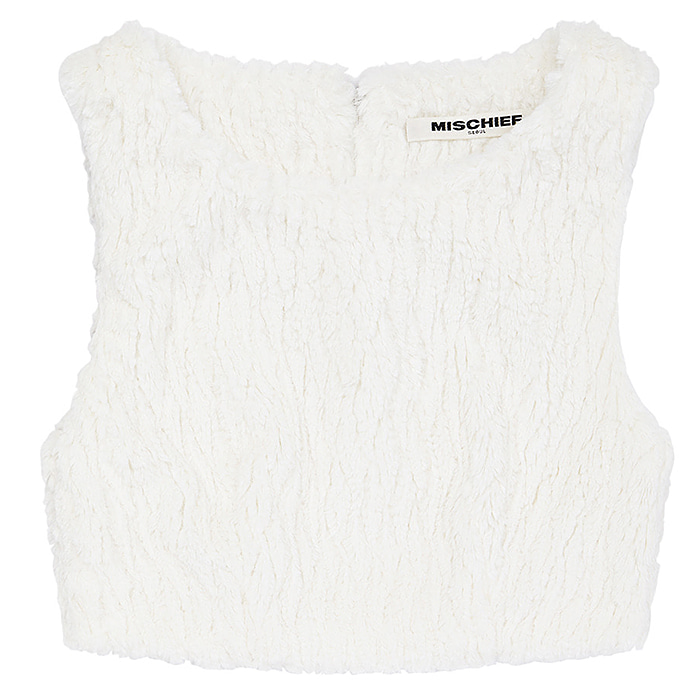 미스치프 크롭 FAUX FUR CROP TOP-WHITE